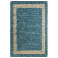 vidaXL Vloerkleed handgemaakt 80x160 cm jute blauw