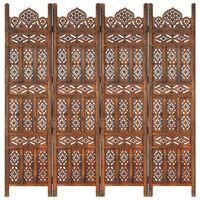 vidaXL Kamerscherm 4 panelen handgesneden 160x165 cm mangohout bruin