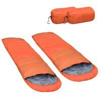 vidaXL Slaapzakken 2 st lichtgewicht 15 ℃ 850 g oranje