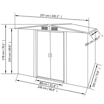 vidaXL Tuinberging 257x205x178 cm metaal grijs