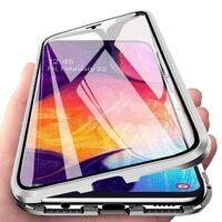 Magnetisch hoesje Samsung Galaxy A70 met screenprotector - zilver