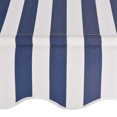 vidaXL Luifel handmatig uittrekbaar 300 cm blauw en witte strepen