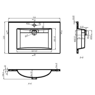 vidaXL Wastafel inbouw 750x460x130 mm SMC wit