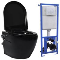 vidaXL Hangend toilet randloos met verborgen stortbak keramiek zwart