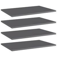 vidaXL Wandschappen 4 st 60x40x1,5 cm spaanplaat hoogglans grijs