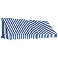 vidaXL Luifel 300x120 cm blauw en wit