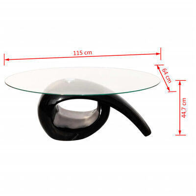 vidaXL Salontafel met ovaal glazen tafelblad hoogglans zwart , Zwart