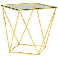 vidaXL Salontafel 50x50x55 cm roestvrij staal goudkleurig transparant