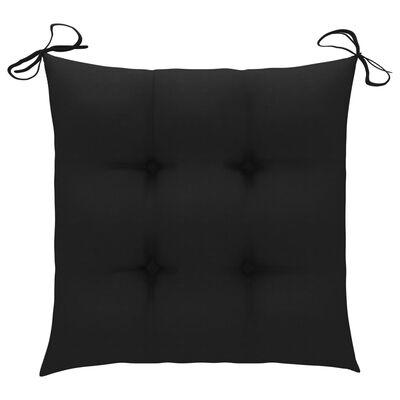 vidaXL Schommelstoel met zwart kussen massief teakhout