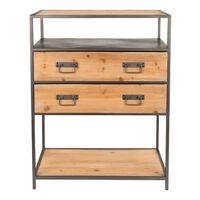 WANTS&NEEDS dressoir samuel grijs/hout 90 x 70 x 38