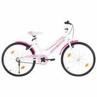 vidaXL Kinderfiets 24 inch roze en wit