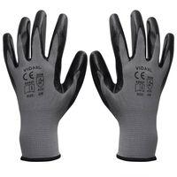 vidaXL Werkhandschoenen nitrilrubber 24 paar grijs en zwart maat 9/L