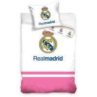 Carbotex Dekbedovertrek Real Madrid logo roze/wit100 x 135 cm