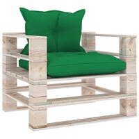 vidaXL Tuinbank met groene kussens pallet grenenhout
