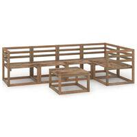 vidaXL 6-delige Loungeset bruin geïmpregneerd grenenhout