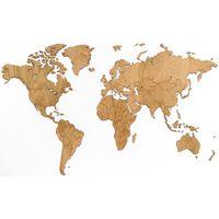 MiMi Innovations Wereldkaart muurdecoratie Exclusive 130x78 cm eikenhout