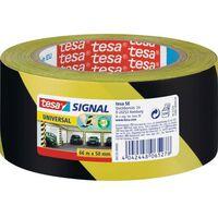 1x Tesa afzettape/markeertape geel/zwart 5 cm x 66 mtr -