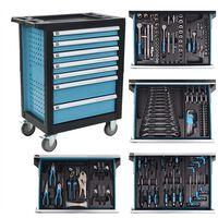 vidaXL Gereedschapswagen met 270 gereedschappen staal blauw