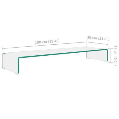 vidaXL TV-meubel/monitorverhoger transparant 100x30x13 cm glas