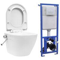 vidaXL Hangend toilet randloos met verborgen stortbak keramiek wit
