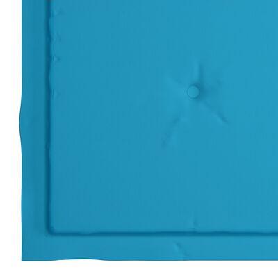 vidaXL Eetkamerstoelen 6 st met blauwe kussens massief teakhout