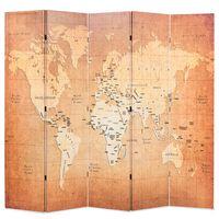 vidaXL Kamerscherm inklapbaar wereldkaart 200x170 cm geel