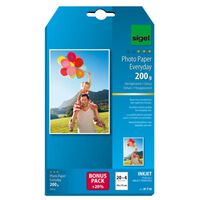 Sigel Inkjetfotopapier Everyday plus 10x15 wit 200gr glans 20+4   vel