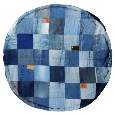 vidaXL Poef rond 100x20 cm denim patchwork