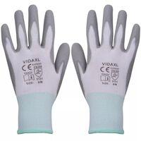 vidaXL Werkhandschoenen PU 24 paar wit en grijs maat 8/M
