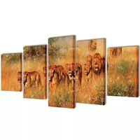 Canvasdoeken Leeuwen 100 x 50 cm