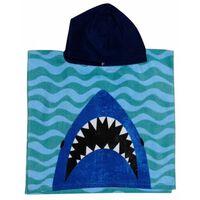 Jaws Badponcho blauw junior 50 x 100 cm