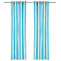 vidaXL Gordijnen met metalen ringen 2 st streep 140x245 cm stof blauw