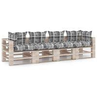 vidaXL Tuinbank 4-zits met kussens pallet grenenhout