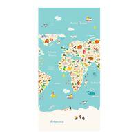 Good Morning Strandlaken WORLDMAP 75x150 cm lichtblauw