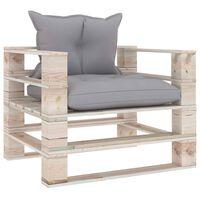 vidaXL Tuinbank met grijs geruite kussens pallet grenenhout