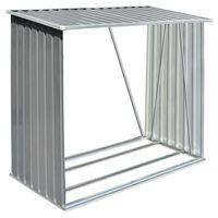 vidaXL Haardhoutschuur 163x83x154 cm gegalvaniseerd staal grijs