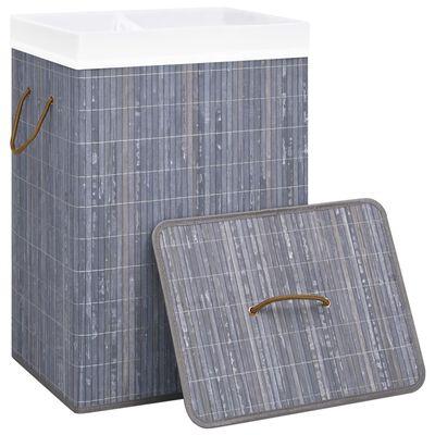 vidaXL Wasmand 72 L bamboe grijs