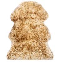 vidaXL Vloerkleed 60x90 cm schapenvacht gemêleerd bruin