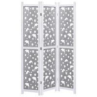 vidaXL Kamerscherm met 3 panelen 105x165 cm massief hout grijs