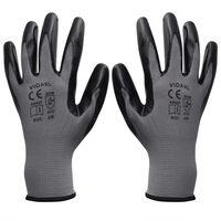 vidaXL Werkhandschoenen nitrilrubber 24 paar grijs en zwart maat 10/XL