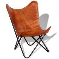 vidaXL Vlinderstoel echt leer bruin
