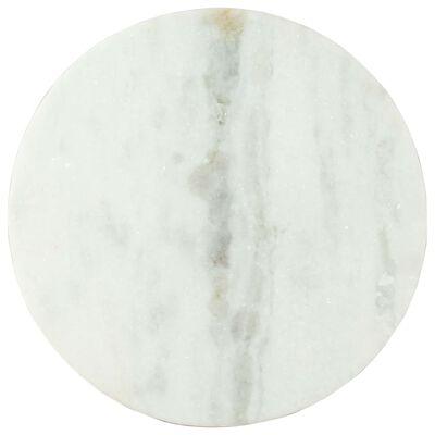 vidaXL Salontafel Ø50 cm echt massief marmer wit en zwart