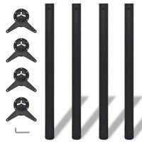 Tafelpoten in hoogte verstelbaar zwart 870 mm 4 st