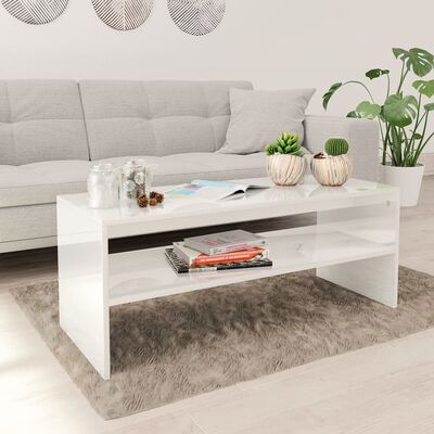 vidaXL Salontafel 100x40x40 cm spaanplaat hoogglans wit  , Hoogglans wit