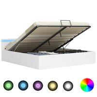 vidaXL Bedframe met opslag hydraulisch LED kunstleer wit 180x200 cm