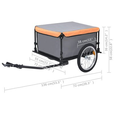 vidaXL Fietskar 65 kg grijs en oranje