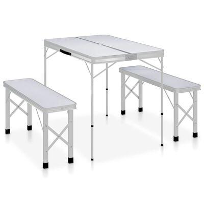 vidaXL Campingtafel inklapbaar met 2 banken aluminium wit