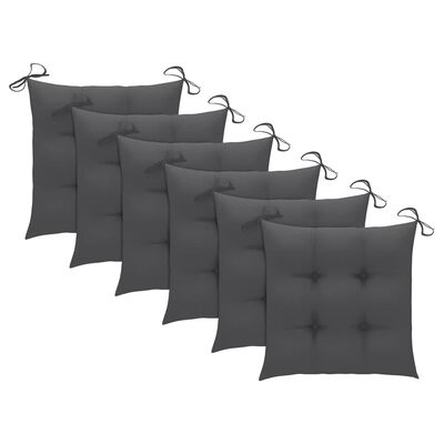 vidaXL Tuinstoelen 6 st met kussens massief acaciahout grijs