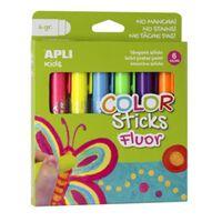 Apli Kids color sticks fluor, blister met 6 stuks