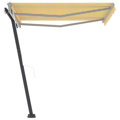 vidaXL Luifel vrijstaand automatisch 300x250 cm geel en wit